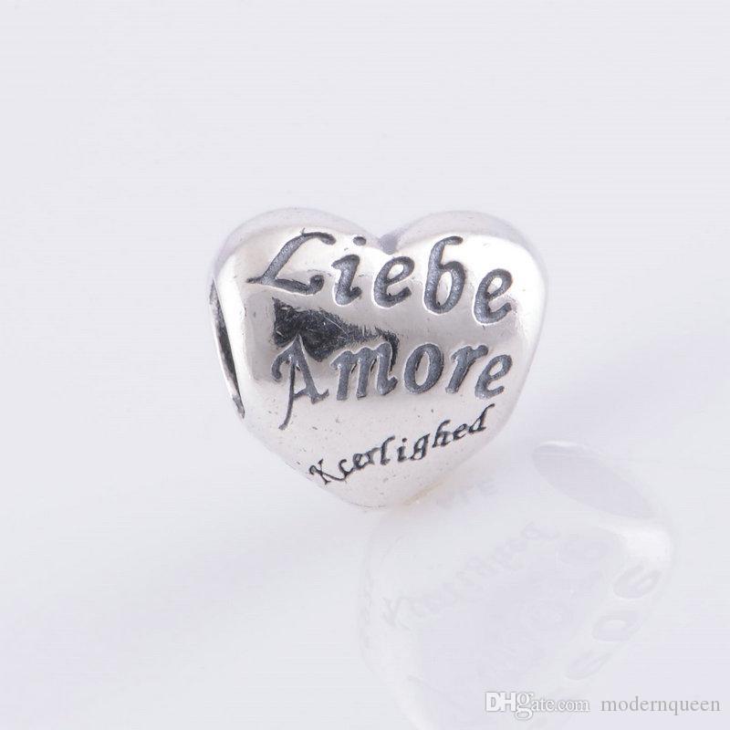 Amor encantos Beads S925 Sterling Silver Fits para Pulseiras de estilo de marca original 791111 H9