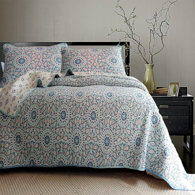 Embroidery Cotton Quilting Quilts 3PCS Pastoral BLUE and white Bedding Europe Bedspread BedCover King size patchwork Quilts