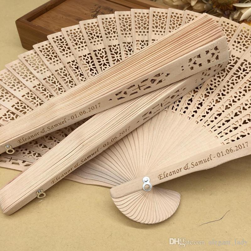 Free shipping in bulk 100pcs lot personalized wood wedding favours fan party giveaways sandalwood folding hand fans