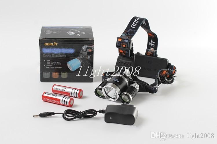 Boruit 6000LM RJ-3001 3x XM-L T6 LED USB Headlight Head Lamp Flashlight Torch Lanterna Headlamp+2*18650 Battery+Charger
