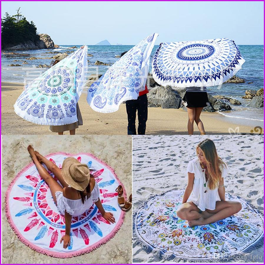 Round Tassel beach towel 150*150cm Bohemia Tassel Knitted blanket Hinking Camping Outdoor Pads Tools Free shipping