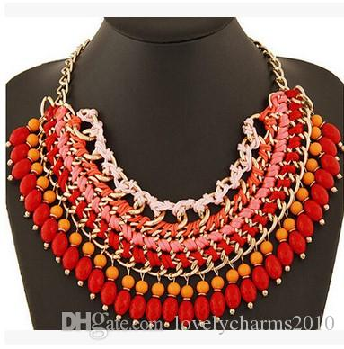Bohemian Ethnic ZA*A Style Multilayer Necklace Droplets Pendant Tasse Bib Choker Statement Necklace For Women Fashion Jewelry Christmas