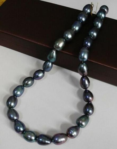 Великолепный природный 12-13 мм таитянский черный зеленый жемчужное ожерелье 18 дюймов 14 K золото застежка