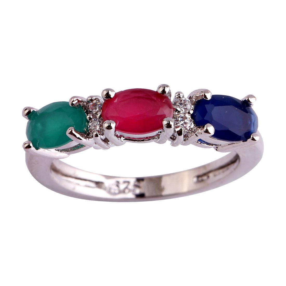 Jewelry Lab Ruby Emerald Sapphire 18K White Gold Plated Silver Fashion Ring Size 6 7 8 9 10 11 12 Commercio all'ingrosso libero di trasporto