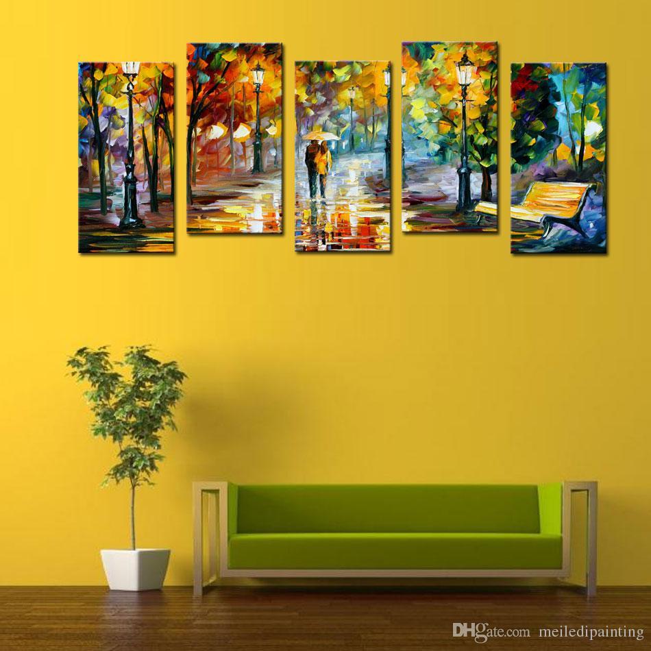 Buy Cheap Paintings For Big Save, 5 Panel Lover Rain Street Tree ...