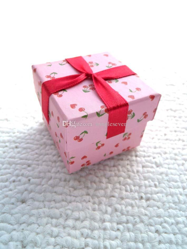 [Simple Seven] Lovers Ring Box / Радостный Pink Pedant Box / Мода ожерелье Упаковка / Специальный случай ювелирных изделий / Trend Серьга Шпилька коробка с лентой