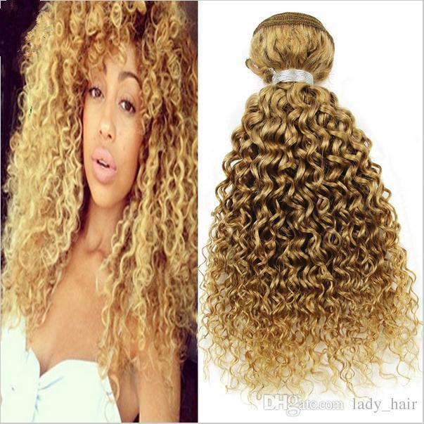 9A Barato brasileño profundo rizado miel cabello humano rubio 3pcs lote # 27 Strawbery rubio brasileño Virgen cabello humano profundo rizado armadura paquetes