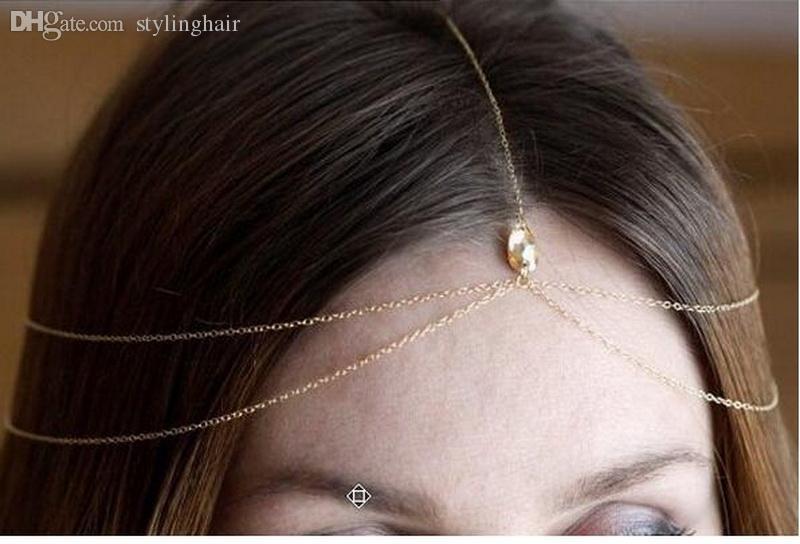 Atacado-Hot moda casamento cadeia de cabeça de ouro Rhinestone Tiara nupcial cabeça indiana jóias acessórios headpiece head dress