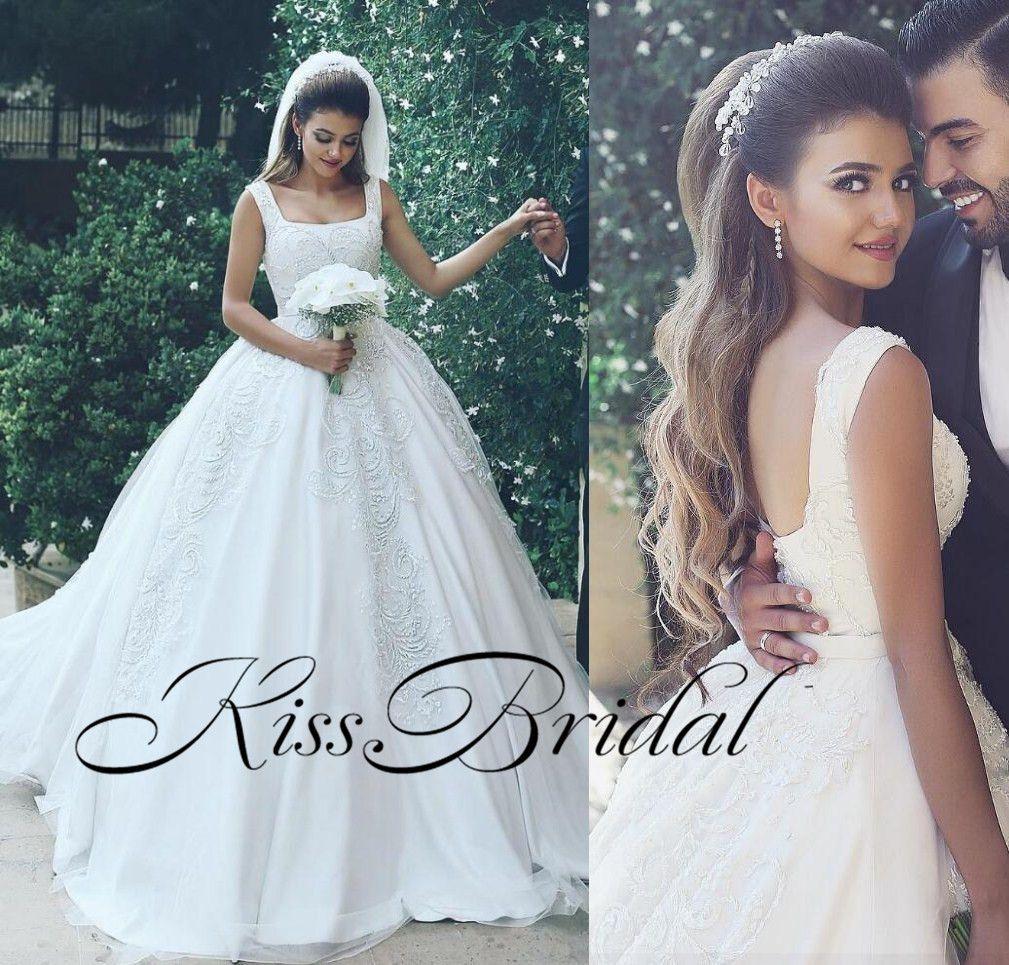 Arabo Dubai Ball Gown Abiti da sposa Abiti da sposa Scollo quadrato Cinghie Long Court Treno Tulle bordatura Abiti da sposa