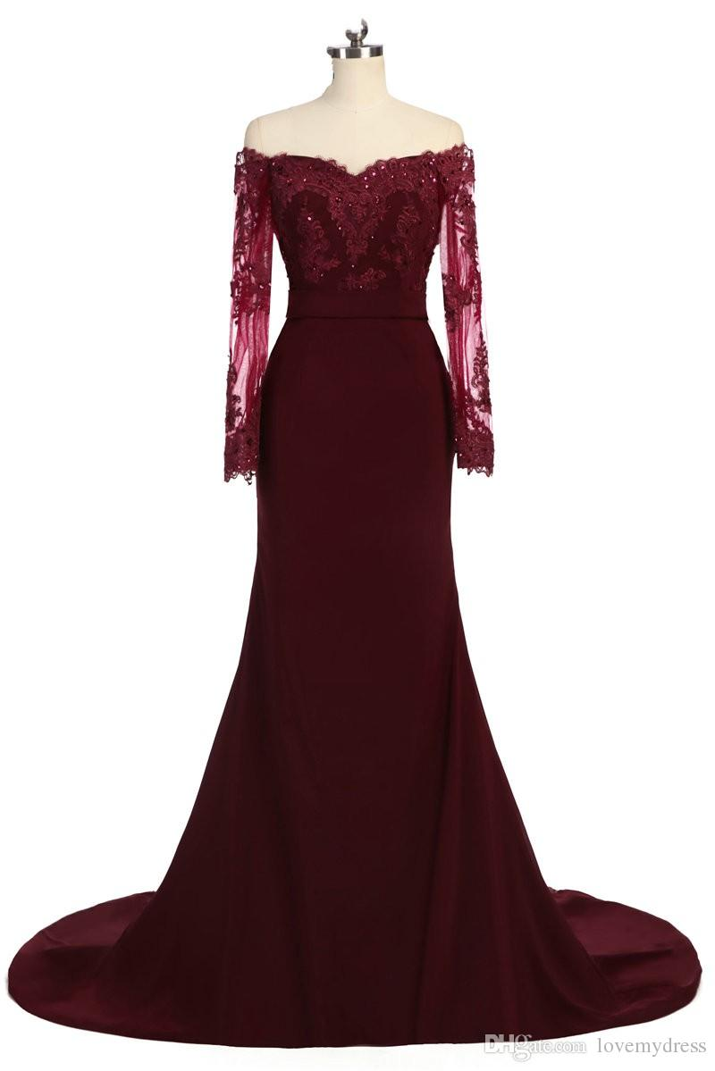 Fashion Dark Red Off the shoulder Long Prom Dress Cheap With Illusion Lace Sleeves Mermaid Chiffon Beaded Bridesmaid Evening Party 2020