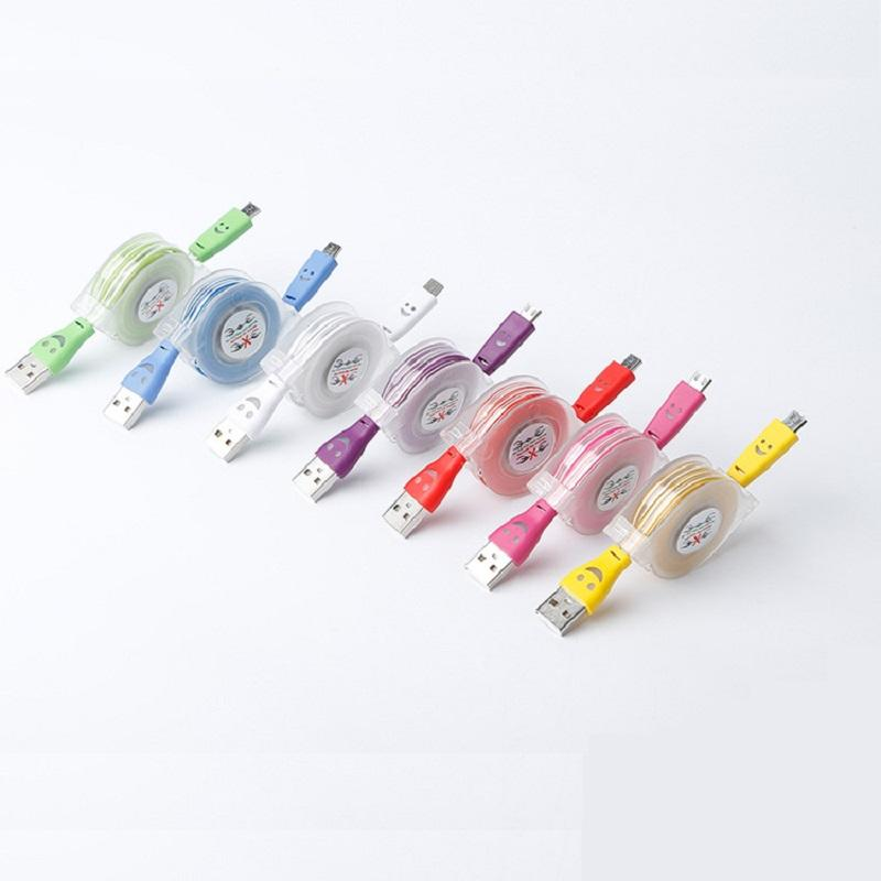 retractable micro usb cable led micro cables USB AM-MICRO smile light cable organized box wholesale cheap price 1m charging cables