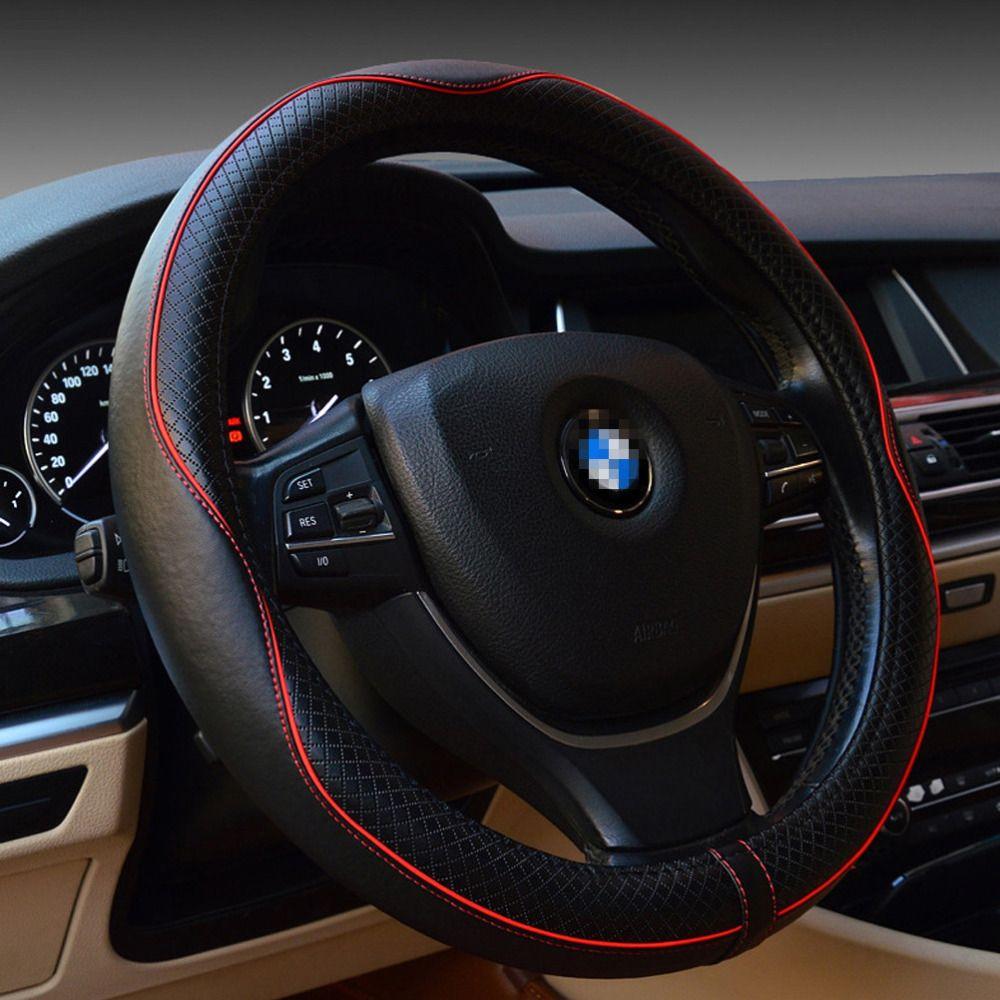 Echtes Leder Auto Lenkradabdeckung Durable Atmungsaktiv Rutschfeste Lenkradabdeckung Für Vier Jahreszeiten Autozubehör