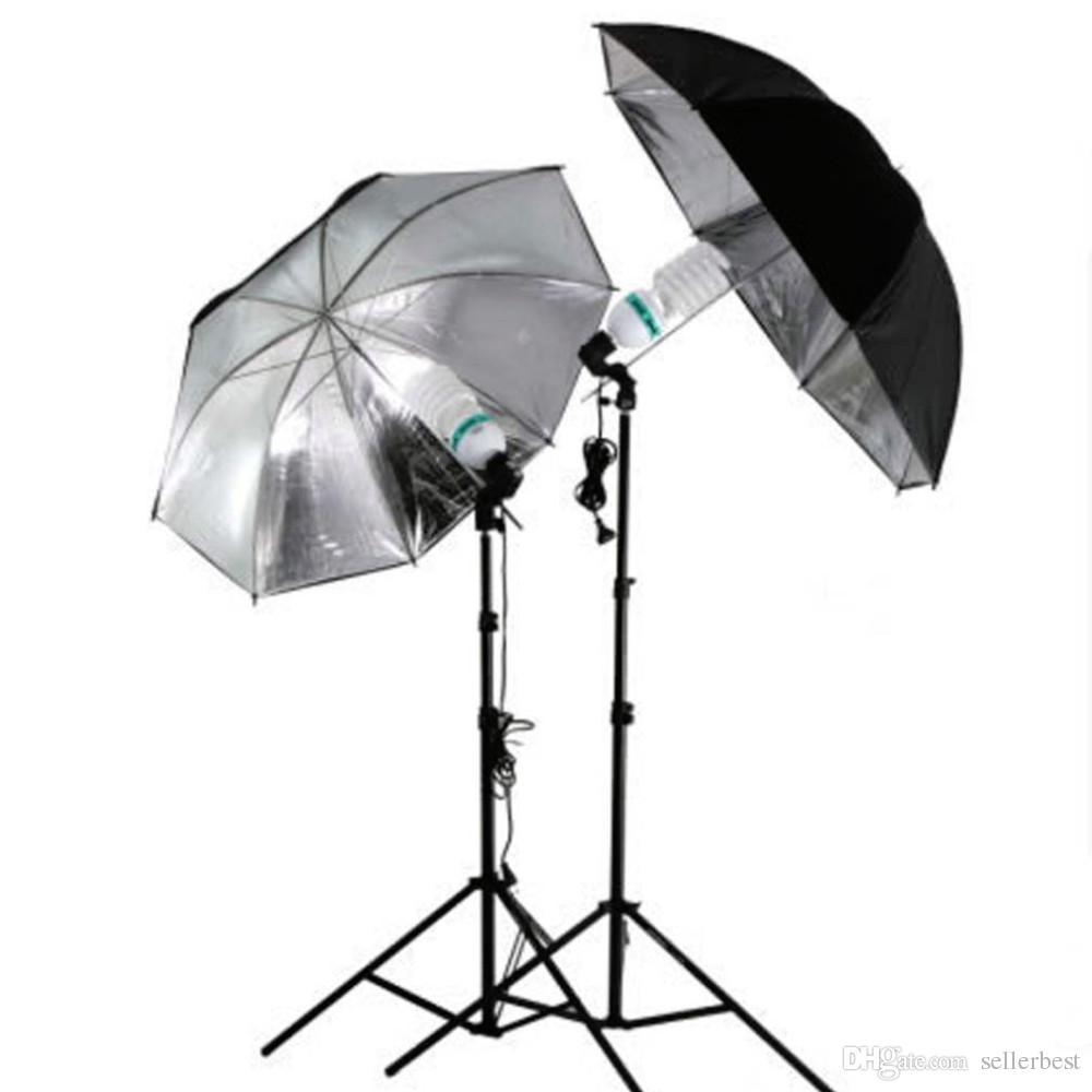 """83cm 33"""" 33 inch Photo Studio Flash Light Grained Black Silver Umbrella Reflective Reflector Wholesale"""