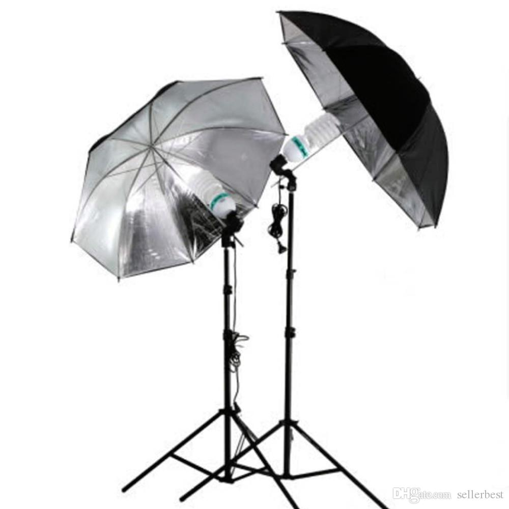 "83cm 33 ""33 Zoll Fotostudio Flash Light Grained Schwarz Silber Umbrella Reflective Reflector Großhandel"