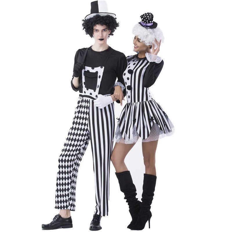 Kukucos Halloween Make-up Bola de Poker Filhotes de Cachorro Roupas Cosplay Palhaço Vestido de Festa Casal Palhaço Traje Do Papel