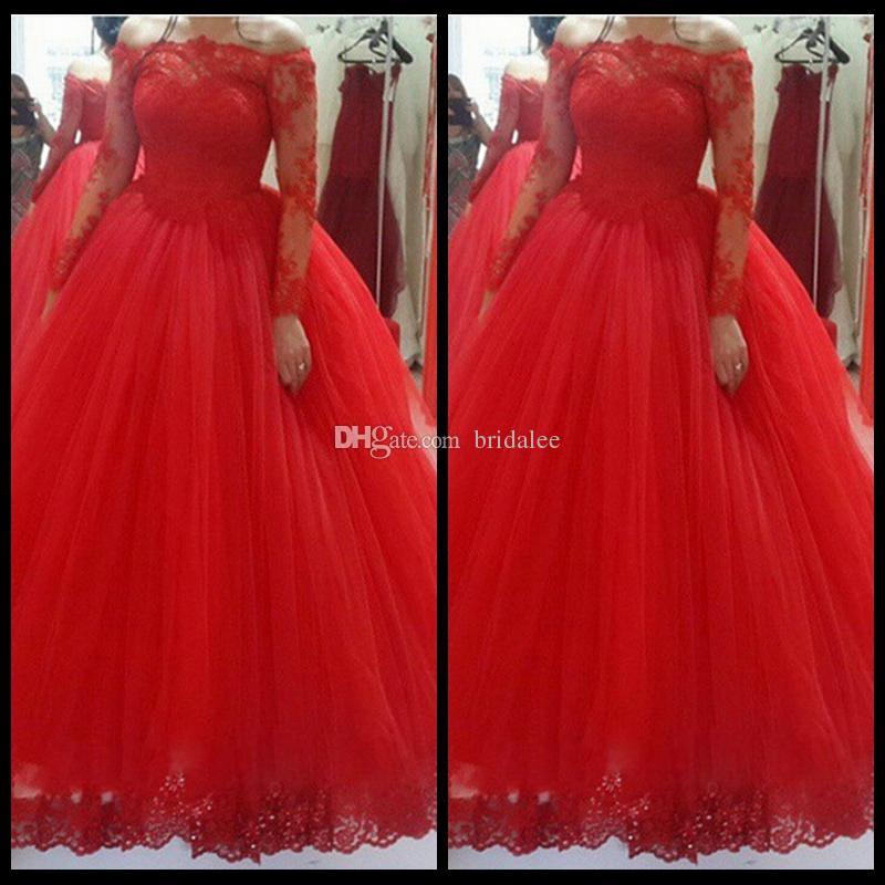 Полный Длинный Рукав Красный Тюль Свадебные Платья 2016 Новое Прибытие Совок Принцесса Невесты Платья Плюс Размер Женщины Конкурс Abito Да Споса