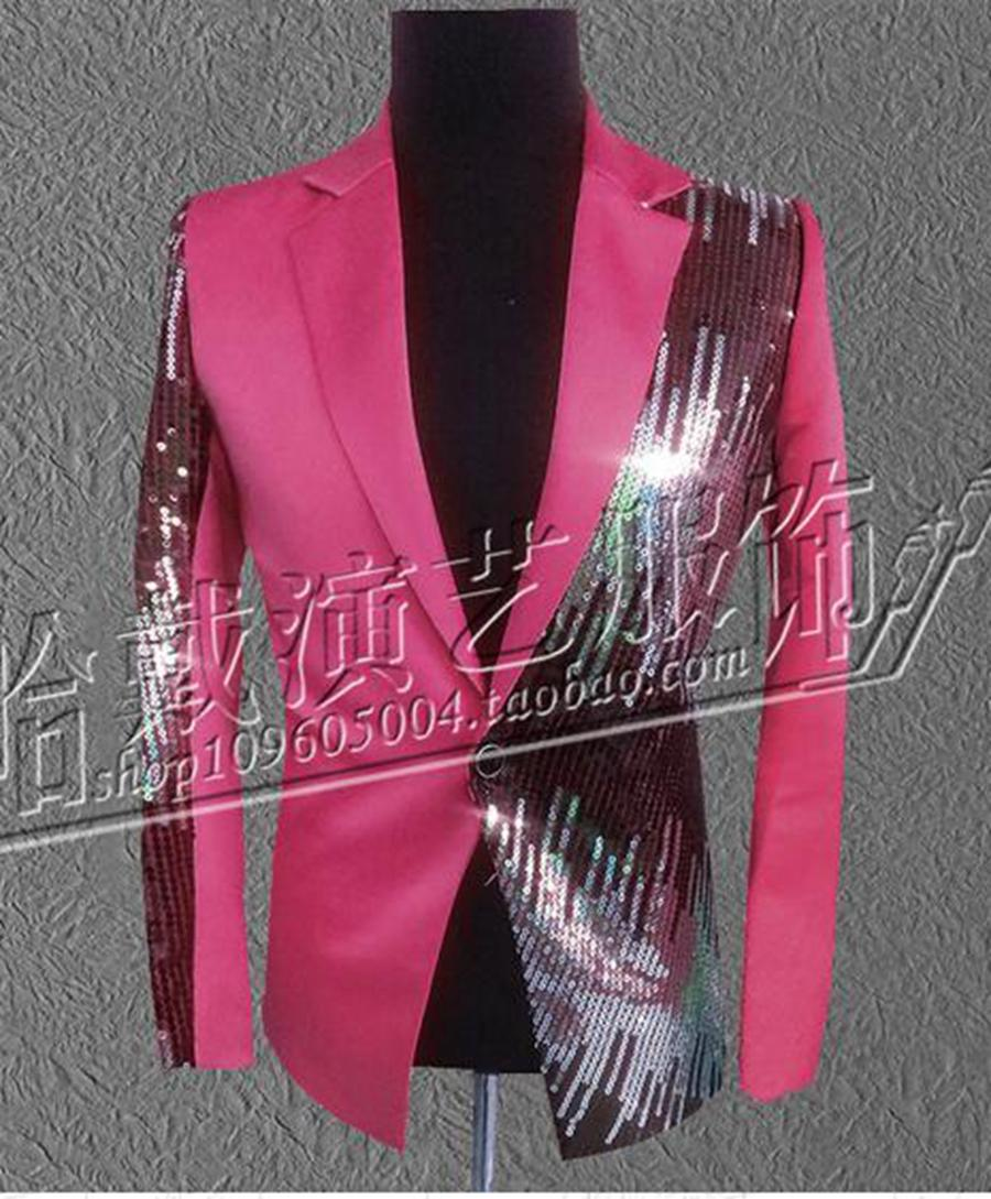 Men's fashion personality costumes nightclub singer star stage performance clothing red sequins suit jacket and trousers/S - 4xl