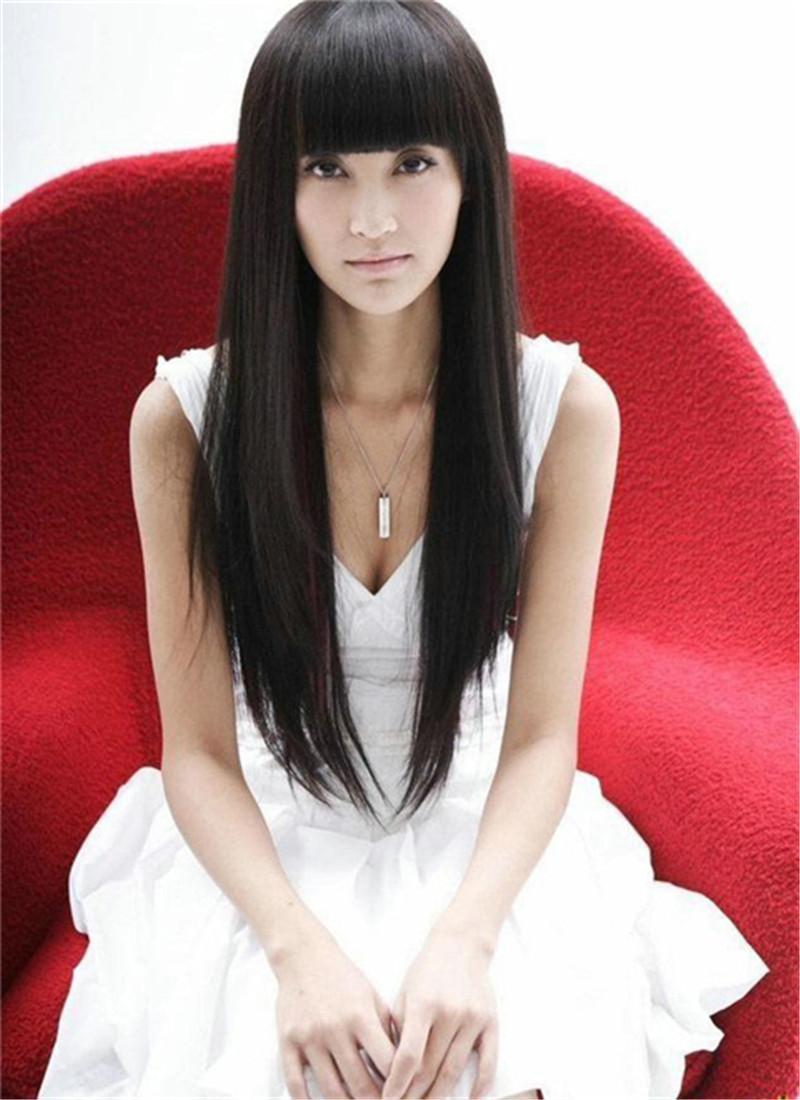 WoodFestival longues perruques noires avec frange soignée naturelle perruque synthétique droite pas cher réaliste perruques quotidiennes
