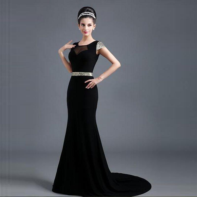 Short Sleeve Black Elegant Evening
