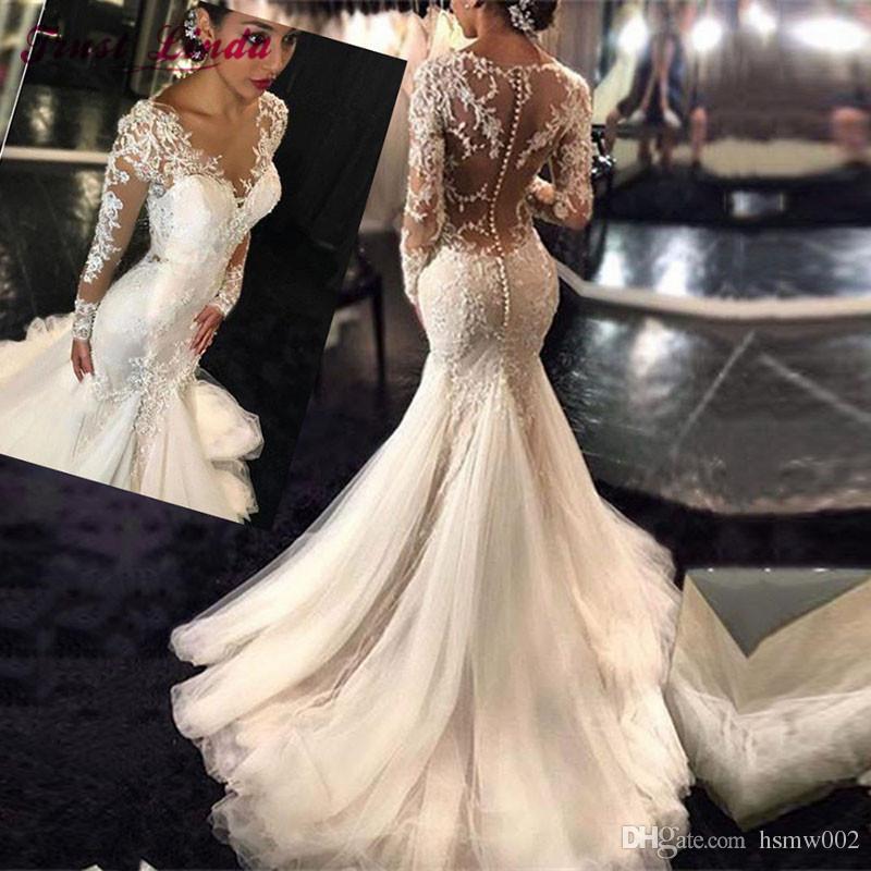 Wysokiej jakości Nowa Moda Koronka Syrenka Suknia Ślubna Vestidos De Novia Court Train Tulle Suknie ślubne Nowożeńskie Aplikacje Długie Rękawy Dress