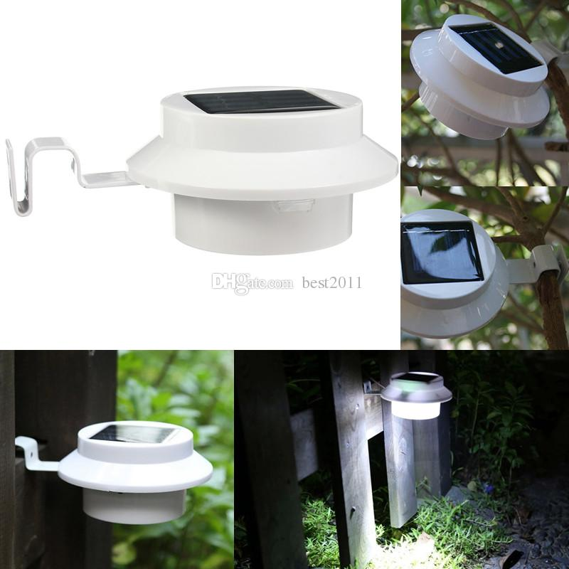3 Leds Light Sensor Control Solar Powered Fence Gutter Solar Lights Outdoor Security Solar Lamps Free Shipping