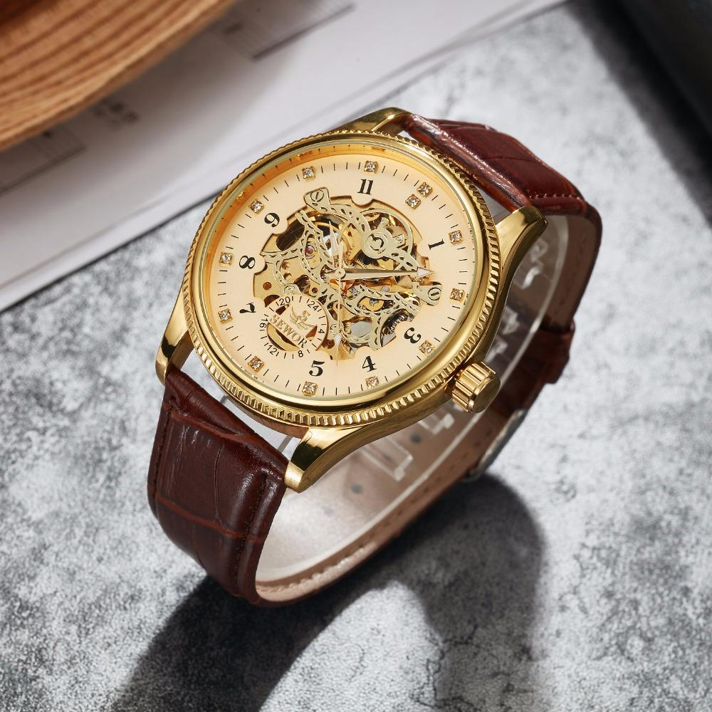 SEWOR Fashion Mechanical Automatic Self-Wind Watch for Men Leather Mecanico Skeleton Male Watches Luxury Waterproof Wristwatch SWQ50-820
