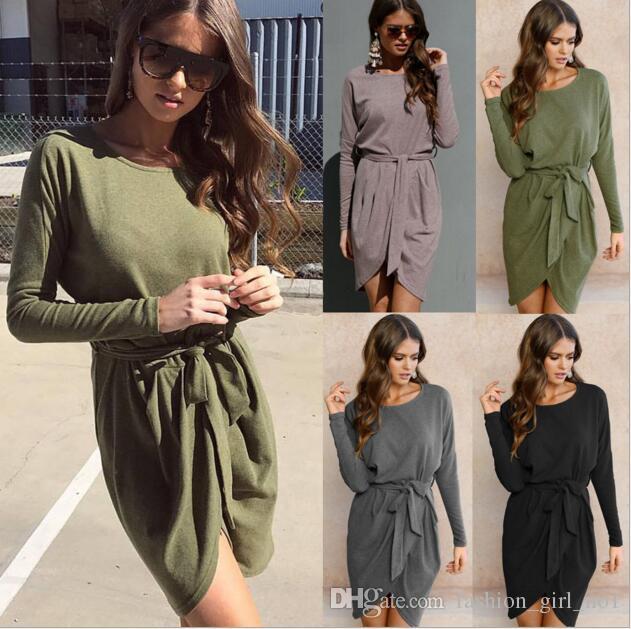 Women Clothing Shirt Dresses Irregular Loose Round neck Long-sleeved Empire Waist Dresses Top Plus Tunic Dresses