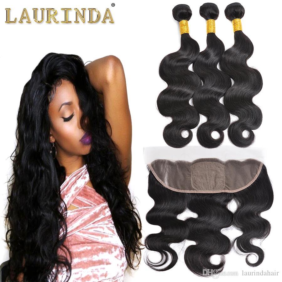 Top Lace Closure With 3 Bundles Brazilian Human Hair Weaves Malaysian Indian Peruvian Body WaveVirgin Hair Grade 8A Brazillian Hair 13*4 Clo