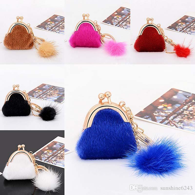 6 Farben Zarte Kleine Tasche Schlüsselbund Echte Kaninchenfell Ball Plüsch Schlüsselanhänger für Auto Schlüsselanhänger Tasche Anhänger Auto Schlüsselanhänger