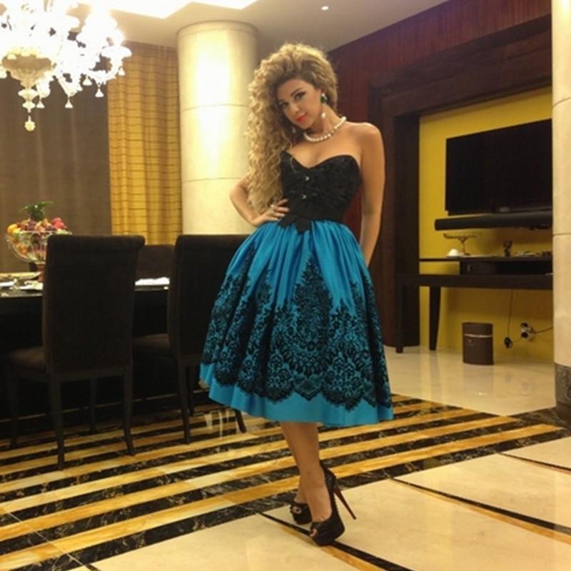 Abiti da ballo occasioni speciali Myriam Fares 2016-2017 Teal Satin e pizzo nero con scollo a V lunghezza tè abiti da sera abito vintage per le donne