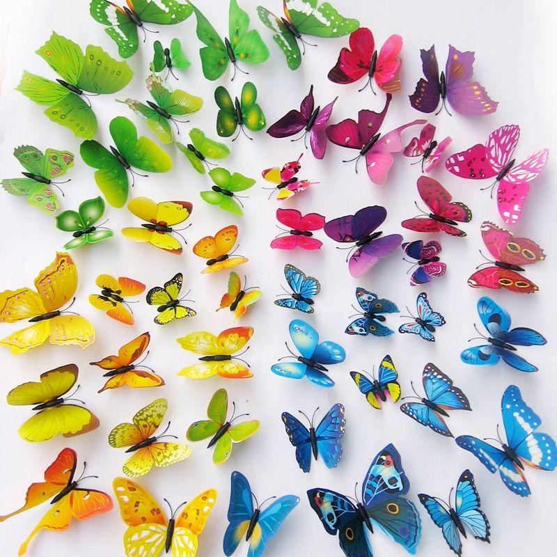10set DIY 3D Schmetterling Wandaufkleber Kunst Design Decals Room Decor Home Decor 1 Satz = 12 Stück
