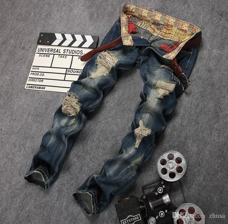 2016 Arrivée Fashion Célèbre marque jeans hommes denim hip hop rock déchiré déchiré mens pantalon pantalones vaqueros hombre