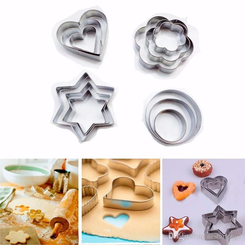 12Pcs/Set Stainless Steel Star/Heart/Flower/Round Cookie Fondant Cake Mould Biscuit Mold Fruit Vegetable Cutter Kitchen Tool