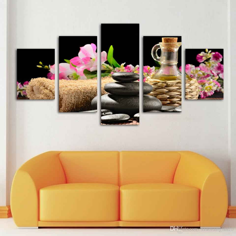Fashion 5 piece/lot Modern SPA Flower and stone Paintings HD Large image canvas wall Art Home Decorative hanging Picture(No Frame)