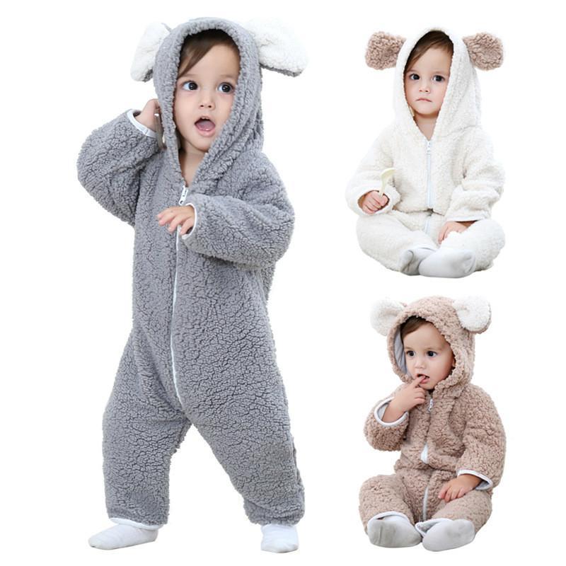 Детские зимние ползунки 2017 девушка теплая молния одежда для младенцев новорожденный мальчик сгущаться осень комбинезон детские с капюшоном одежда QWS