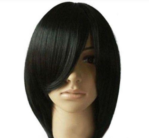 100% brandneue hochwertige modebild wigswomens mode kurze gerade schwarzes haar volle perücken cosplay party synthetische perücke