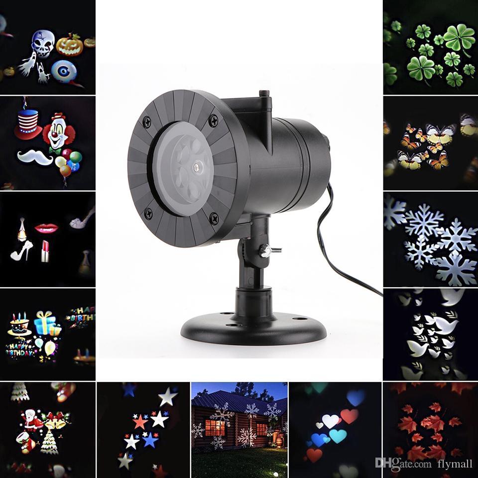 크리스마스 레이저 눈송이 프로젝터 램프 12 패턴 야외 방수 프로젝션 Led 조명 홈 가든 스타 라이트 실내 장식