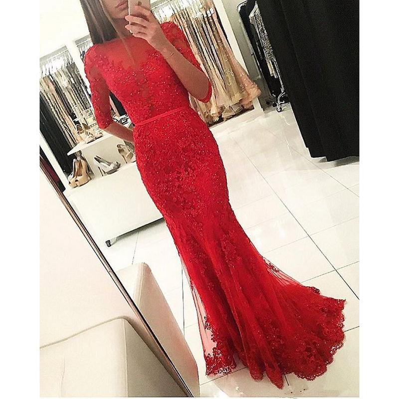 2017 Red Weddings Guest Abiti da sera Mezze maniche Sirena Tulle Appliqued pizzo Sheer Prom Party Gowns Elegante