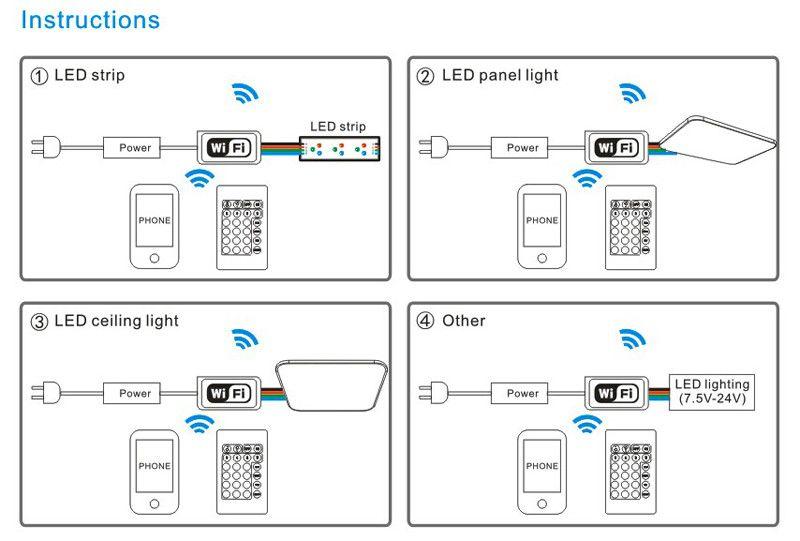 Großhandel Smartphone Steuerung Mini Wifi Rgb Rgbw Led Controller 12 ...