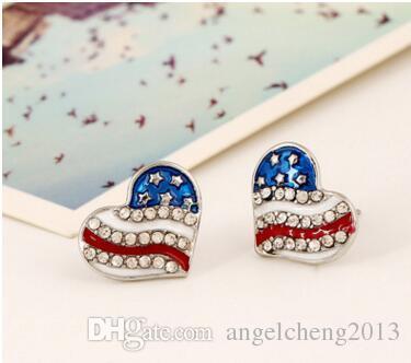 Boucles d'oreilles de bijoux de mode pour les femmes / filles Teen pour Décoration strass Crystal Star (Heart_shape) Forme Boucles d'oreilles avec le drapeau américain