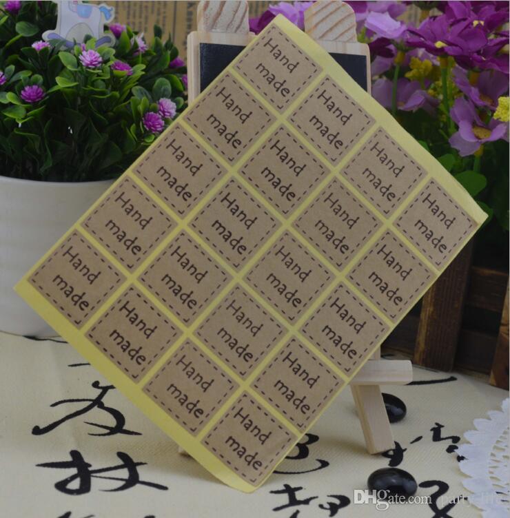 500 fogli (10000pcs) Retro fatto a mano guarnizione quadrata Sticker fai da te per il pacchetto regalo, cottura al forno fresco.