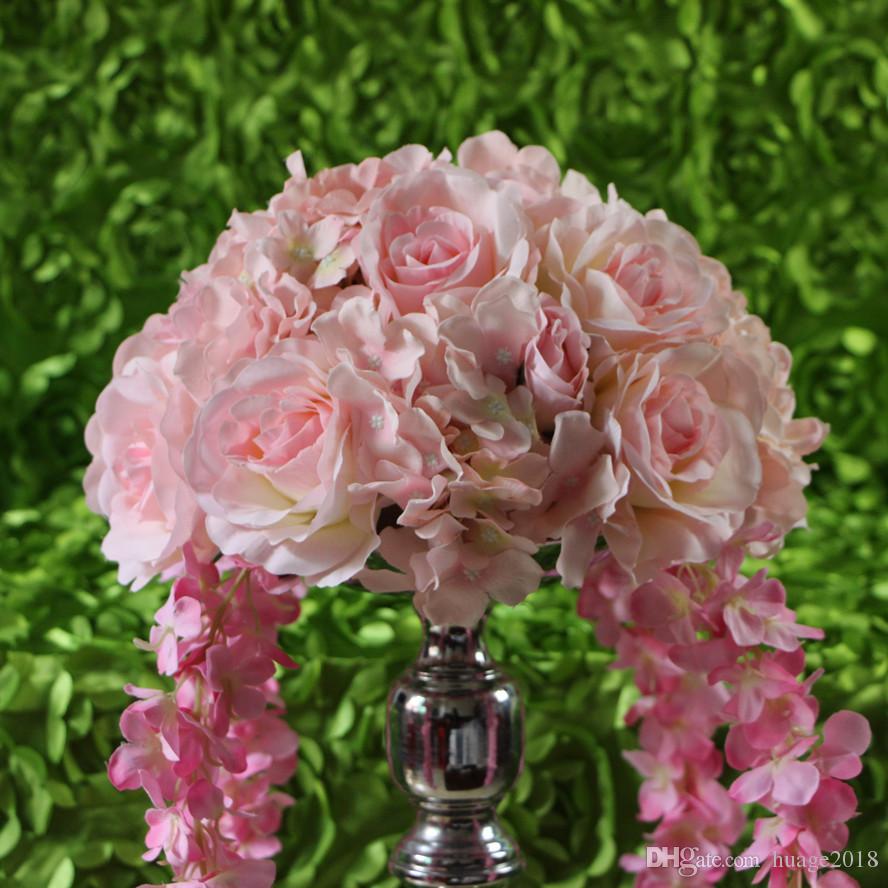 Spedizione gratuita! 10 pz / lotto matrimonio luce rosa strada piombo fiori artificiali centrotavola di nozze palle di fiori decorati