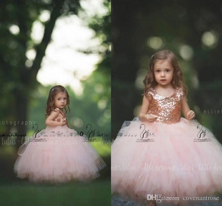 Little Girls communion dress Rose Gold Sequins Blush Tulle Ball Gown Flower Girls' Dresses 2017 Cap Sleeve Puffy Formal Wedding Party Dress