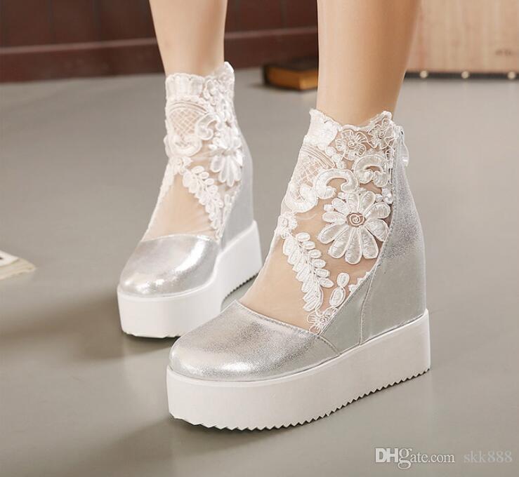 Buld seda rendas branco sandálias de cunha de prata alta plataforma saltos invisíveis altura aumentada peep toe mulheres sapatos 3 cores tamanho 35 a 39