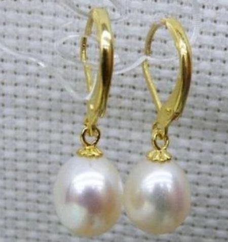 Vendita calda Un paio di 10-12mm naturale South Sea White orecchino di perla 14K chiusura in oro