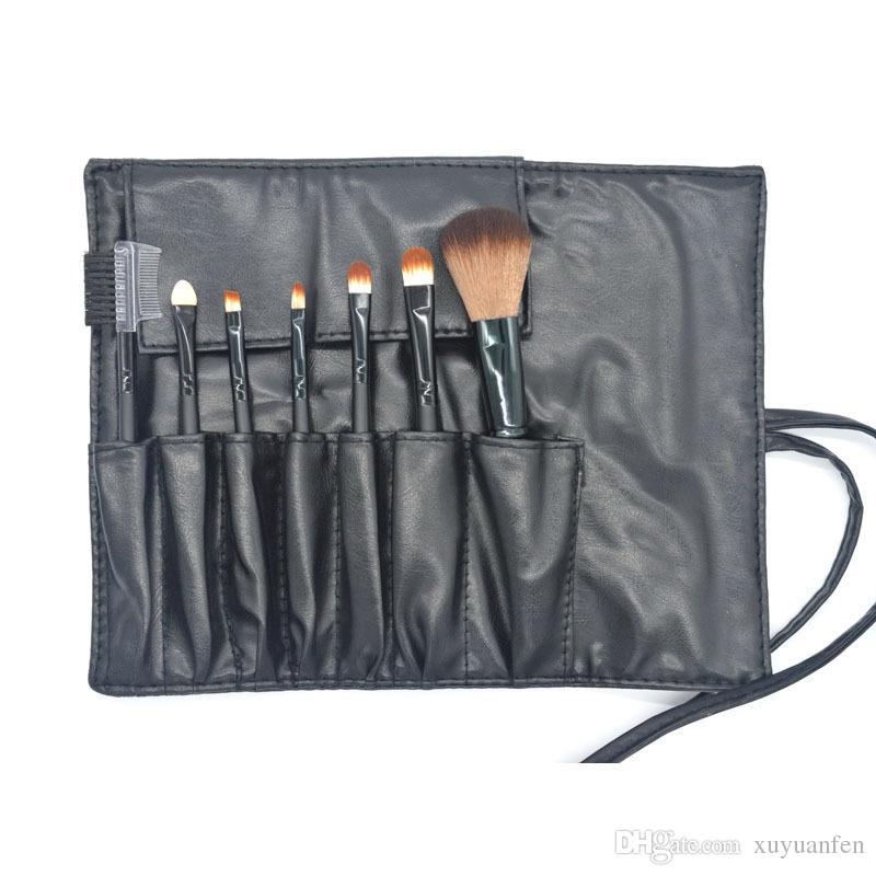 7 PCS Pinceaux de Maquillage Set Outils Trousse de Toilette Trousse de Toilette Laine Marque Make Up Brush Set Cas Cosmétique Fondation Brosse