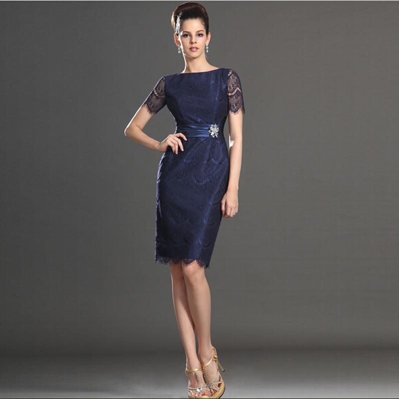 짧은 소매 어머니의 복장 무릎 길이 패션 여성 레이스 드레스 벨트 Bateau 목 현대 디자인과 좋은 품질