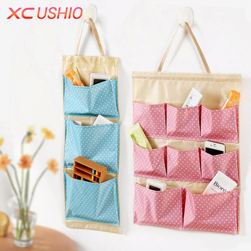 Wholesale- Multi Pockets Dots Oxford Hanging Storage Bag Wall Mounted Hanging Organizer Pouch Space Saver Sundries Case Fast Shipping