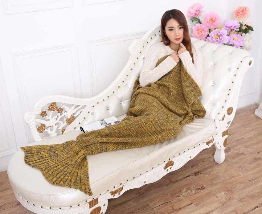 Yarn Knitted Mermaid Tail Blanket Handmade Crochet Mermaid Blanket Kids Throw Bed Wrap Super Soft Sleeping Bed X184 (28)
