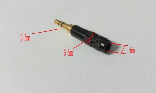 50pcs noir mini cuivre 3.5mm stéréo réparation casque prise à souder